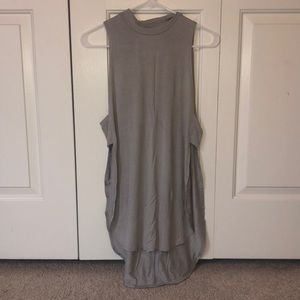 Open Side High Neck Gray Tank